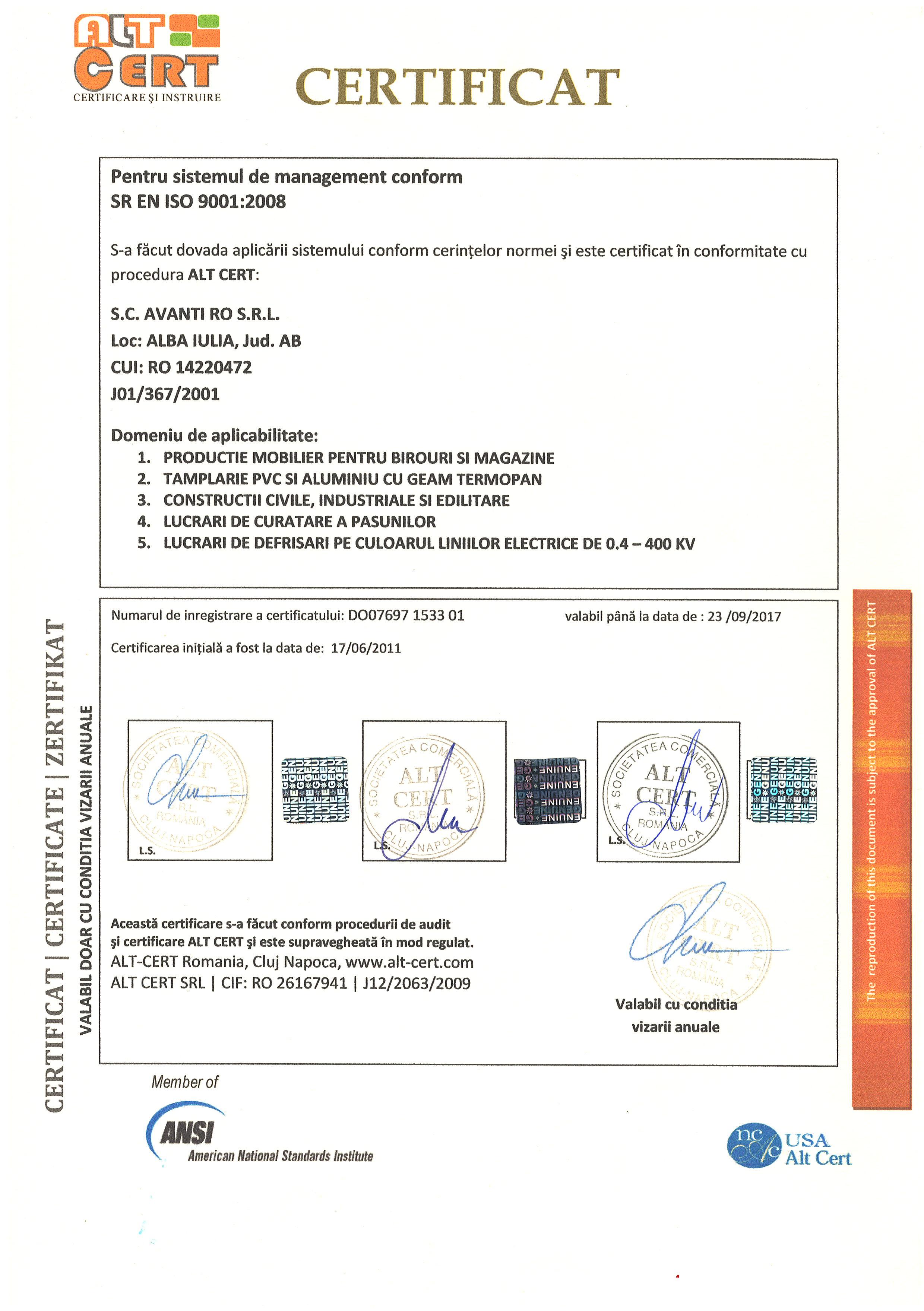 ISO 9001 AVANTI ROMANIA