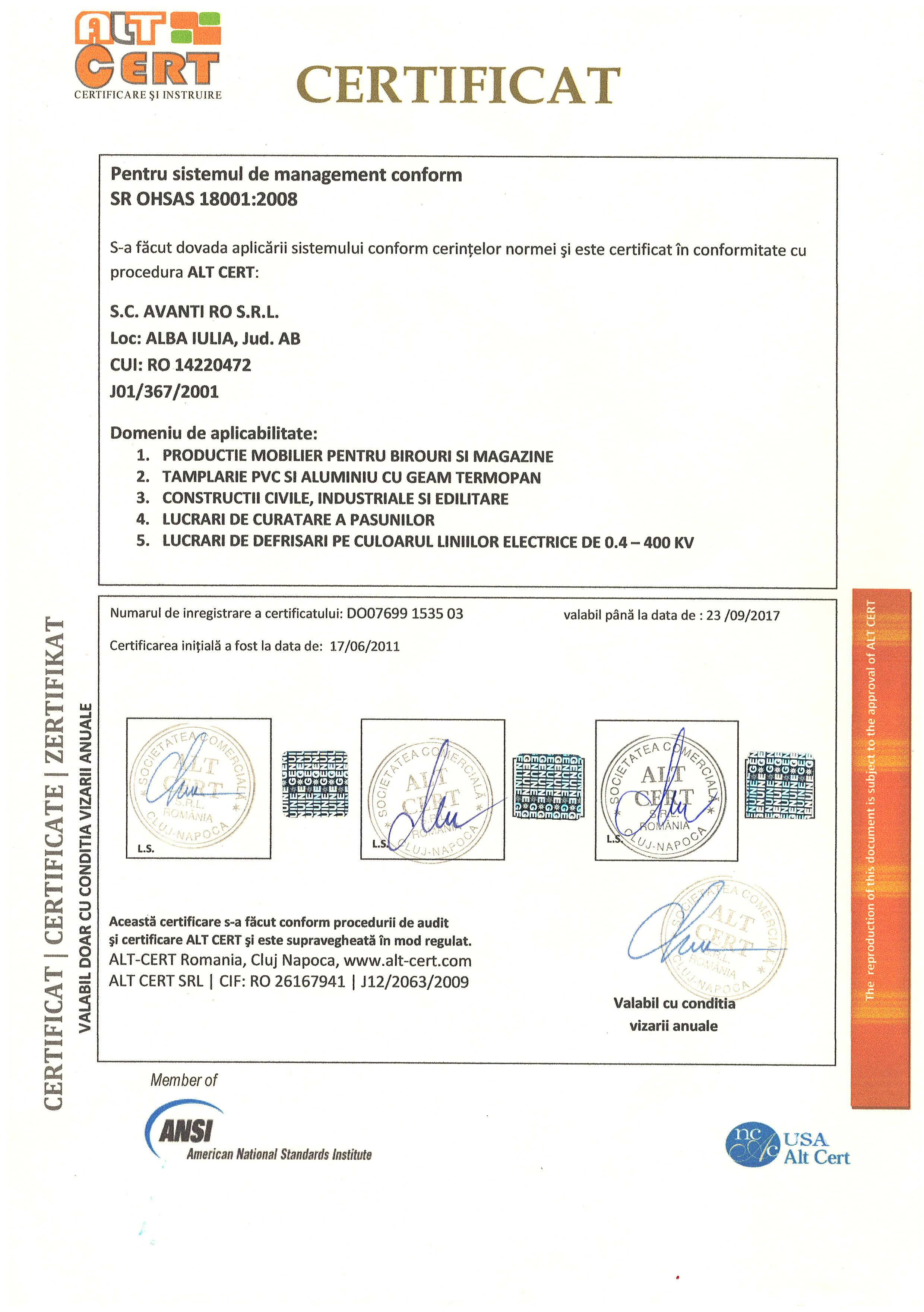 ISO 18001 AVANTI ROMANIA